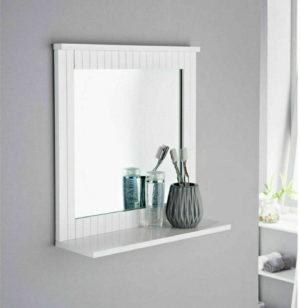 White Bathroom Mirror Wall Mounted Wood Frame With Cosmetics Shelf
