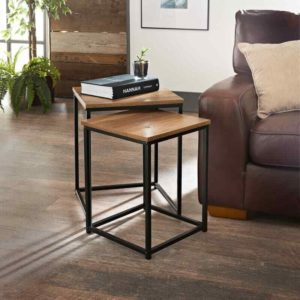 HQ Wooden Top Metal Frame Square Nesting Tables Set Of Two