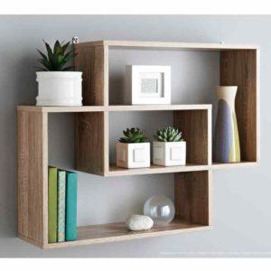 Oak Floating Display Wall Shelves Multi Compartment Shelf