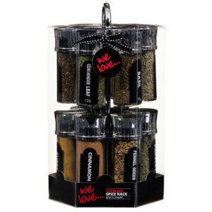 12 Jars Rotating Herbs Spice Rack Turnable Storage Stand
