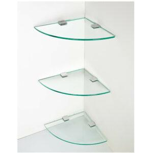 3x Floating Glass Corner Wall Shelf
