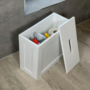 Crisp White Bathroom Storage Toilet Cleaning Tidy Box Unit