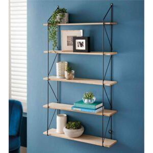 Five Tier Wall Mounted Floating Shelves Wooden Metal Frame Home Decor