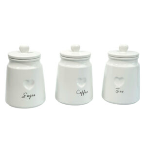 Set Of 3 White Ceramic Canisters Engrave Heart Tea Coffee Sugar jars