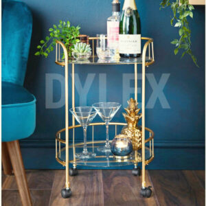 Gold Drinks Trolley With Glass Shelves Bar Cart Drink Table