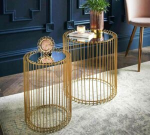 Set Of 2 Round Gold Cage Nesting Table Mirror Top Home Decor
